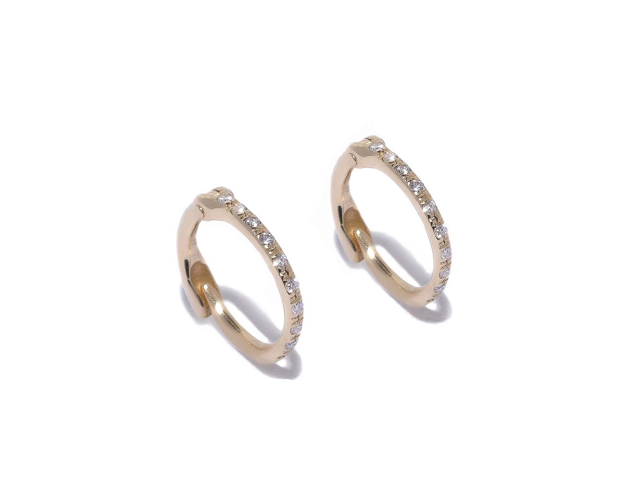 Micro Pave Diamonds Hoop Earrings Wendy Nichol Fine Jewelry Designer 14k Gold White Diamonds Black Diamonds delicate simple tiny small baby hoops