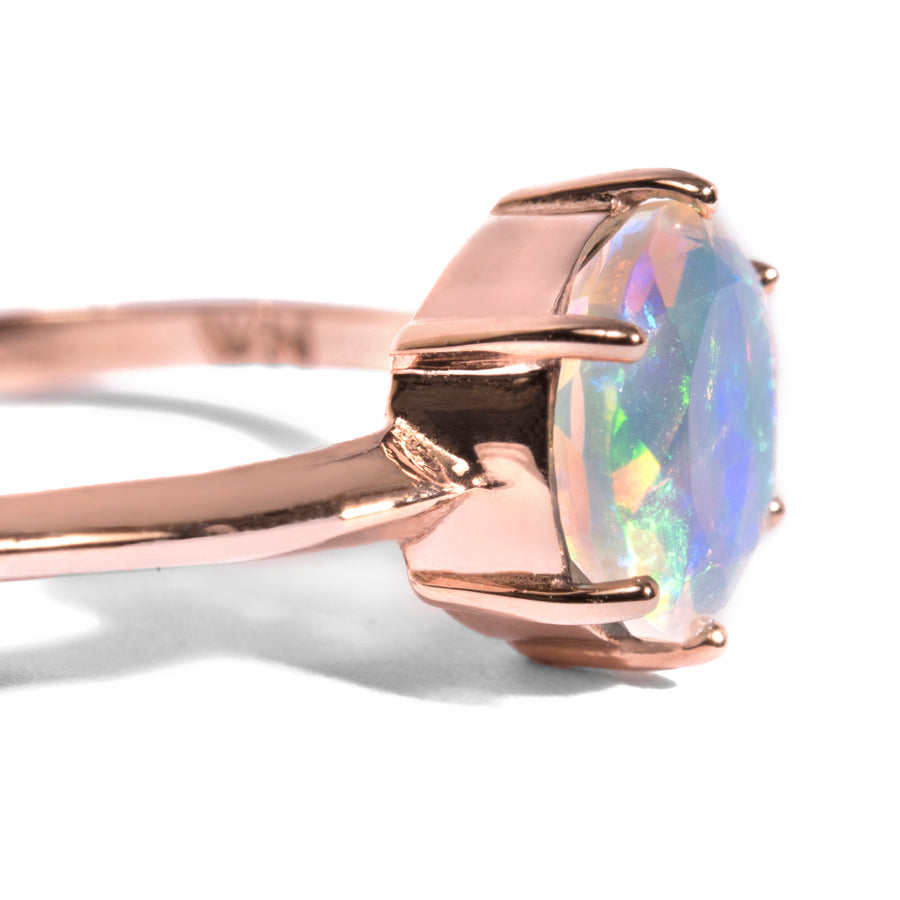 6 Prong Round Faceted Opal Ring