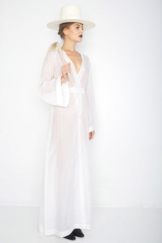 Svetlana IMG Model Wendy Nichol Clothing Designer Ready to Wear Fashion Runway Show SS16 Guardians of Light Golden Hour Wrap Dress Silk Sheer Kimono Deep V Plunge Open cut out Diamond Back Bell Sleeves Custom Tailored Made to Measure Order Handmade in NYC