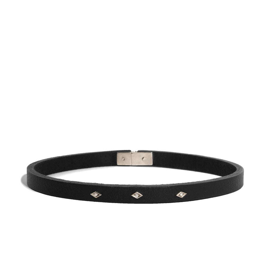 Triangle Leather Choker with Three Diamond Eye Charms