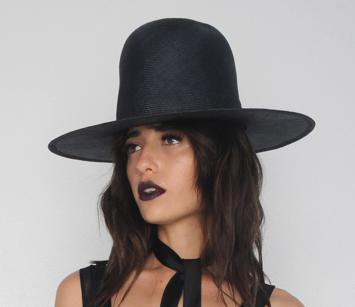 Navy Straw Tall Wide Brim Hat Wendy Nichol Designer Handmade in NYC Witch El Topo Magician Summer Hat Vanessa M IMG Model Beyonce Formation Hat