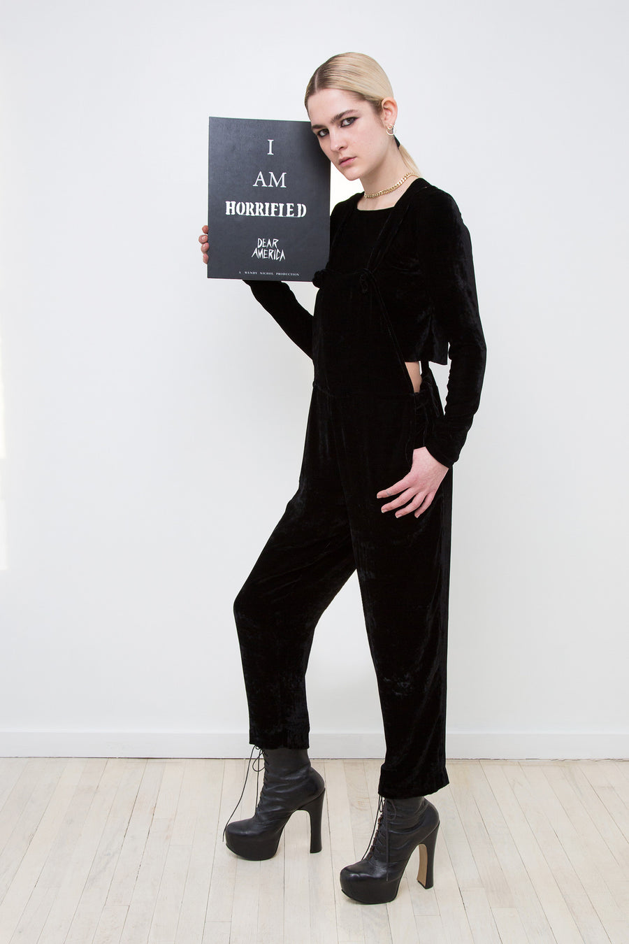Hayley IMG Model Wendy Nichol AW17 Clothing Fashion Anti Fascist Runway Show Dear America Handmade in NYC New York City Protest March I AM Black Silk Velvet Overalls Jumper Silk Velvet Long Sleeve Crop Top