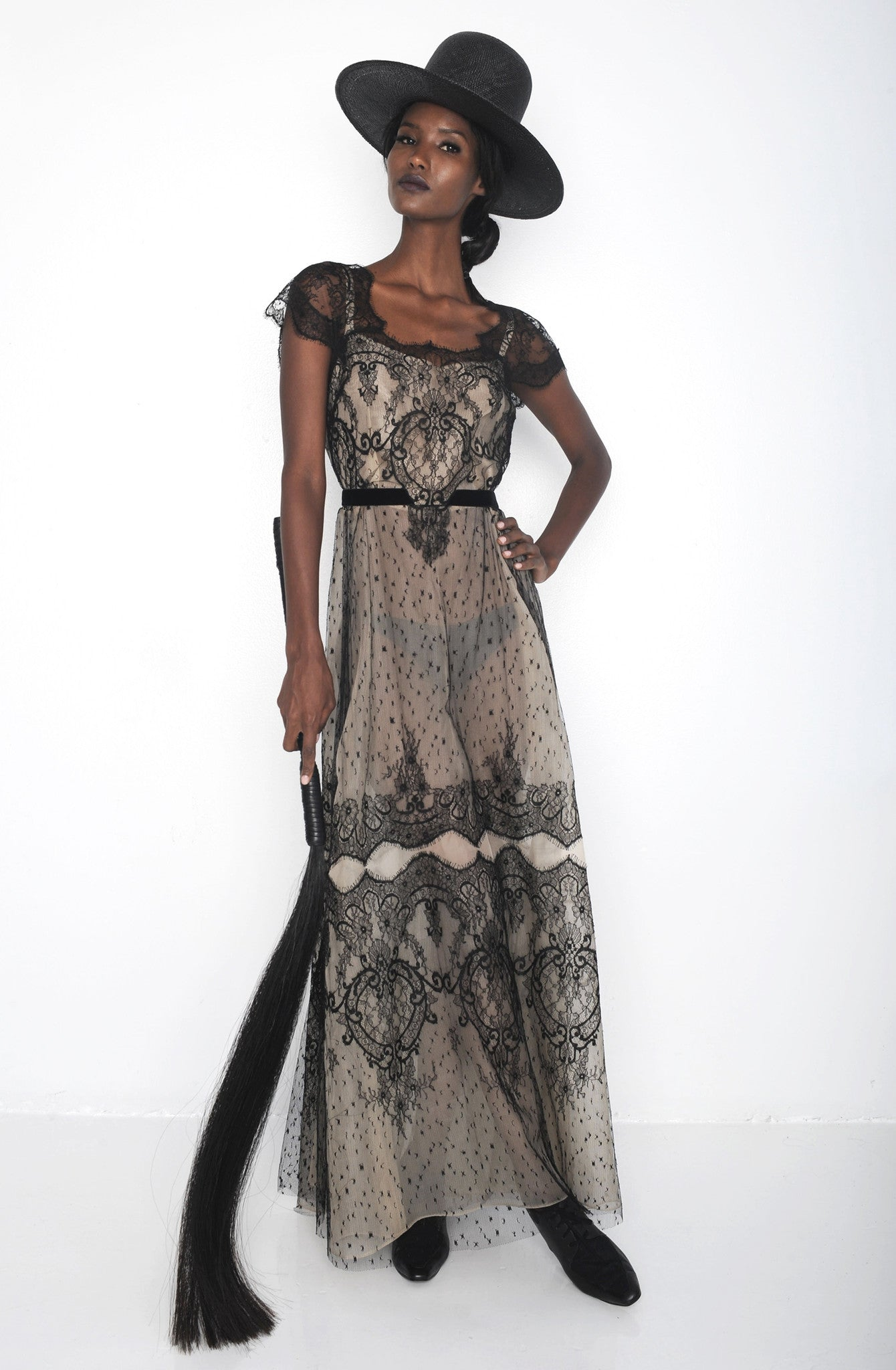 Fatima Siad IMG Model Wendy Nichol Clothing Designer Ready to Wear Fashion Runway Show SS16 Guardians of Light Afternoon Delight French Solstiss Silk Lace Nude Black Cut out should dress Sheer Handmade in NYC New York City Made to Measure Order Custom Tailoring Fabric Color Black Wide Brim Straw Hat Brunette Horse Hair Whip