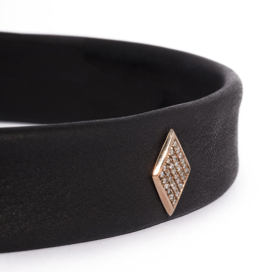 Leather Snap Choker with Micro Pave Face Diamond Shape