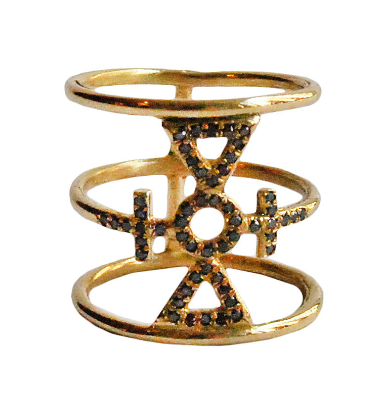 Auspicious Cross Ring Micro Pave Diamonds Wendy Nichol Fine Jewelry Designer solid 14k Gold Yellow Rose White Black Diamonds Diamond Cage Witch Magic Magick Mason Symbol Ring Barney's Barneys