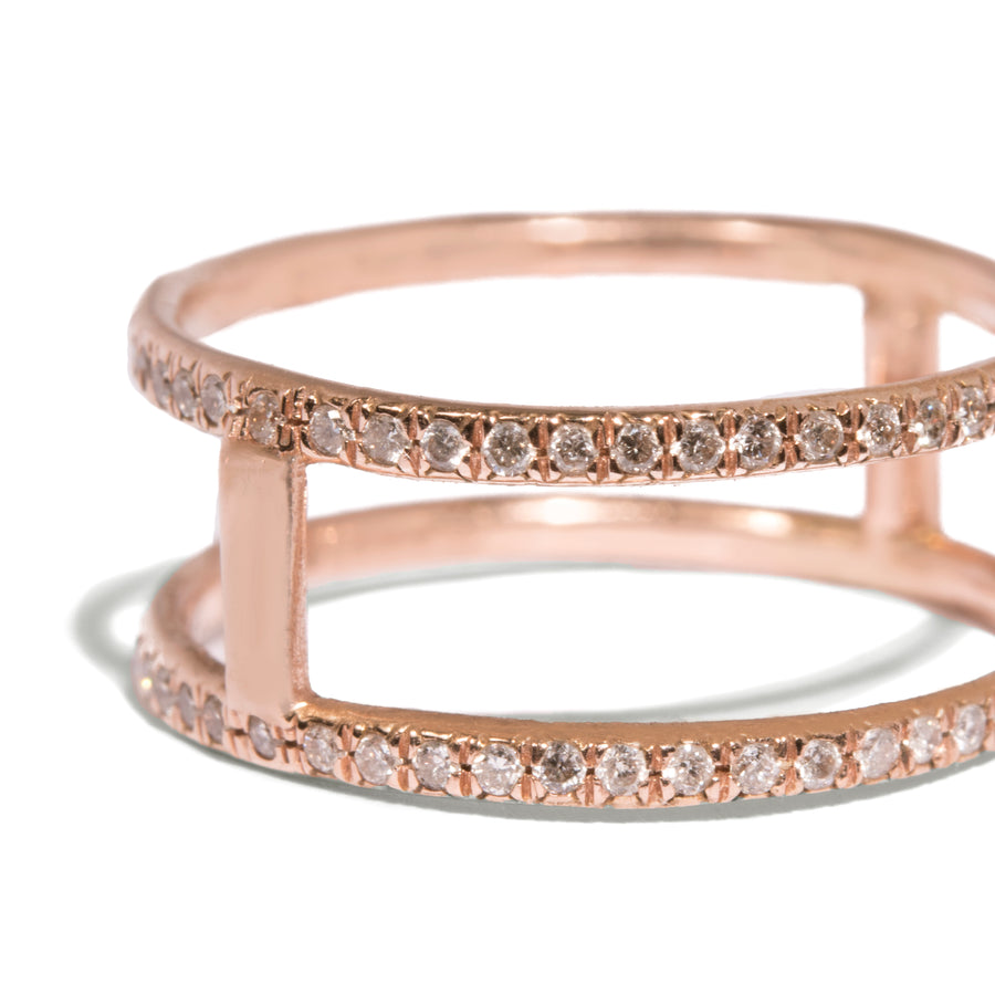 Micro Pave Double Band Orbit Ring