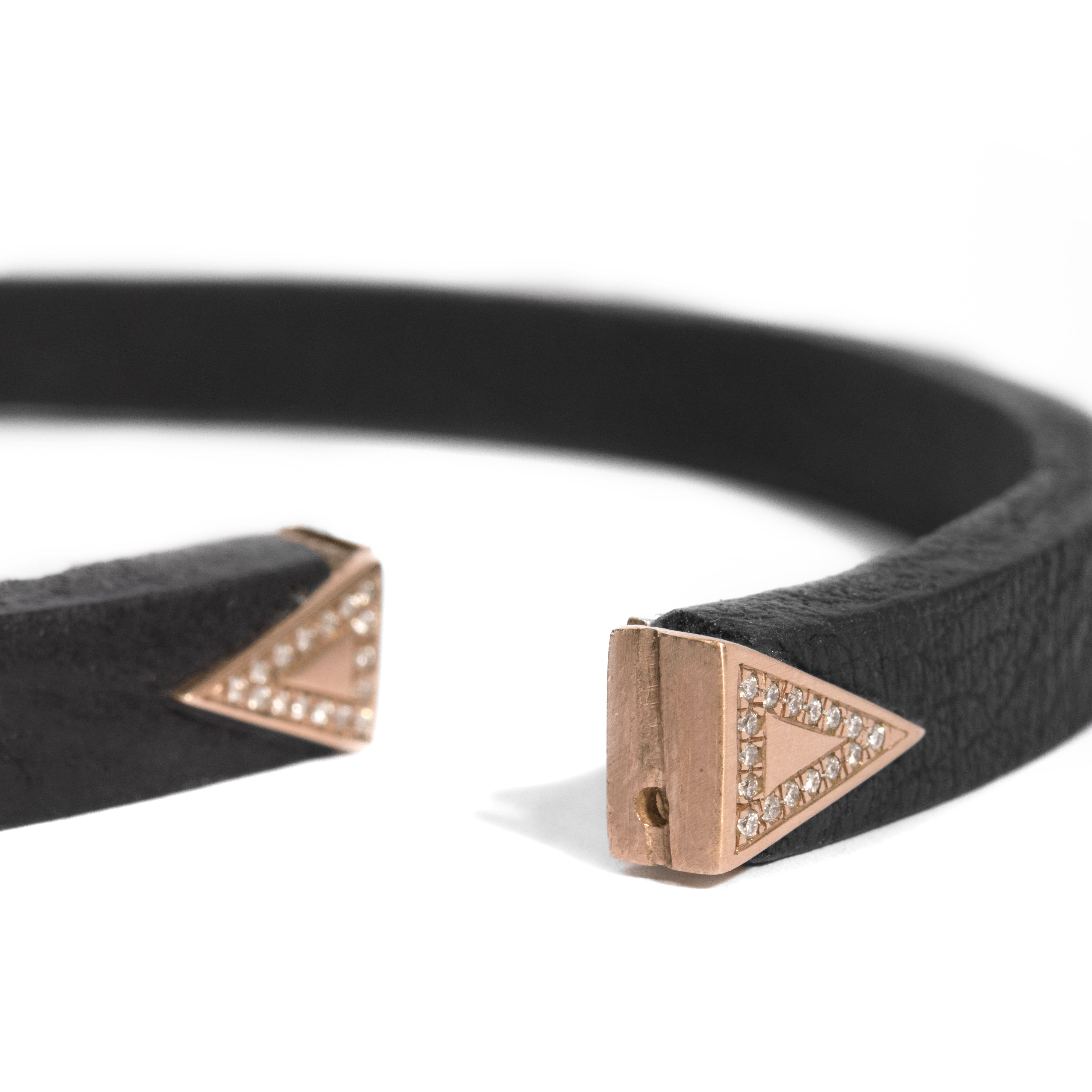 Micro-Pave Triangle Leather Choker