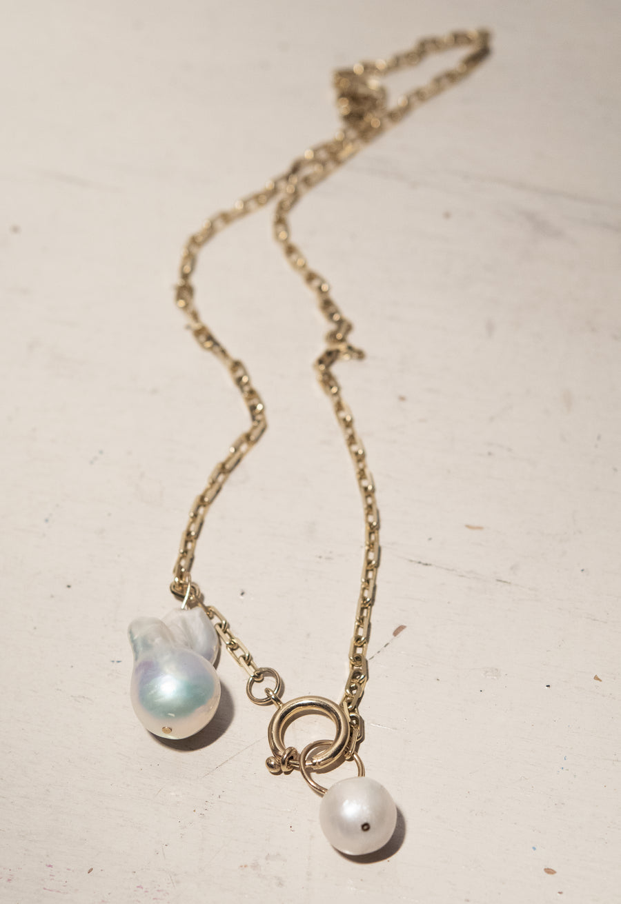 Double Pearl Charm Necklace