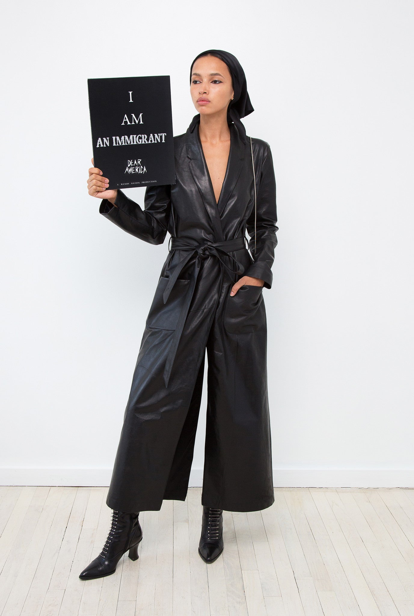 Camila IMG Model Wendy Nichol AW17 Clothing Fashion Anti Fascist Runway Show Dear America Handmade in NYC New York City Protest March I AM Thin Leather Duster Coat Jacket Matrix