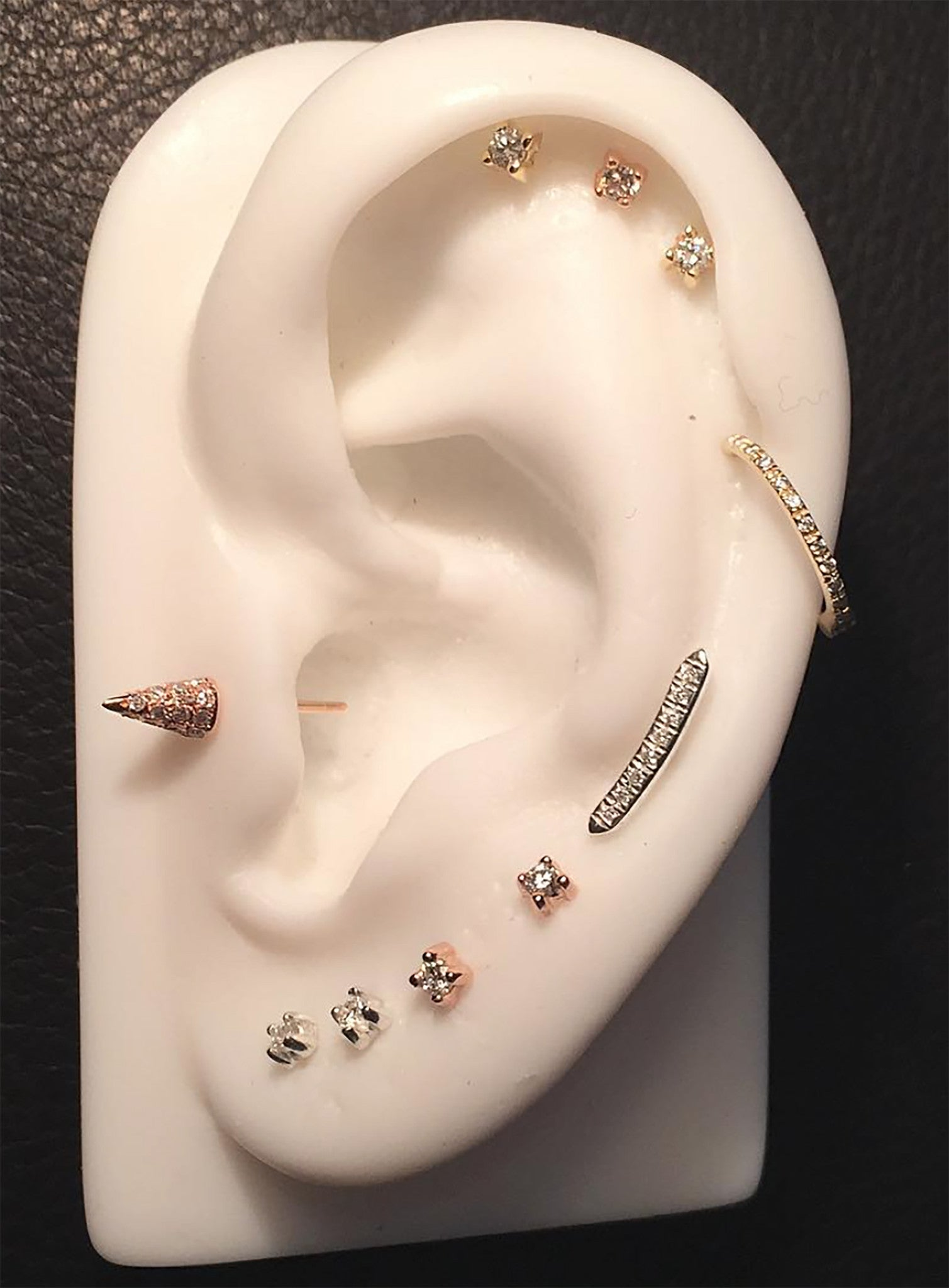 Micro Pave Eight 8 Diamonds Curved Line Bar Stud Climber Earrings Wendy Nichol Fine Jewelry Designer solid 14k Gold Yellow Rose White Sterling Silver Black Diamonds White Diamonds Simple Elegant Dainty First Second Ear Piercing Lower Lobe Upper Lobe Snug Helix Cartilage