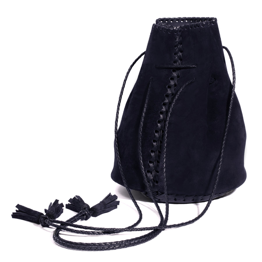 Whipstitch Suede Bullet Bag