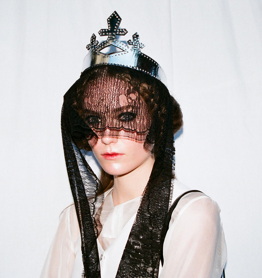 Silver Black Black Patent Leather Queen Crown Wendy Nichol Designer Handmade in NYC New York City cut out Diamond Crosses Leather Cross Victorian Medieval Crown Headpiece Headdress Headband Tiara Diadem High Priestess Sorceress Wedding Bride Bridal Crown Veil Basia IMG Model