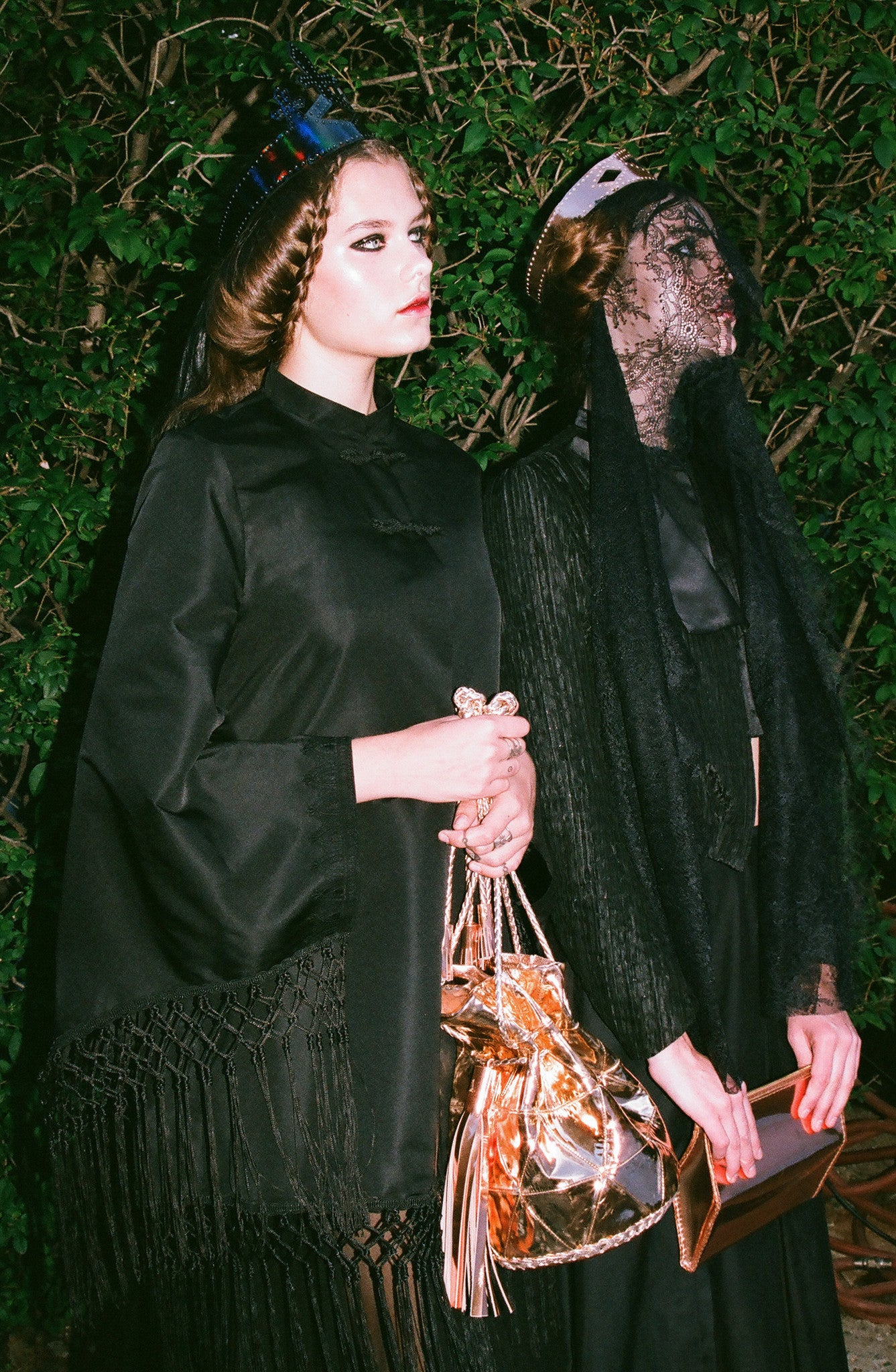 Solveig IMG Model Wendy Nichol First Fashion Runway Show SS14 Saints of the Zodiac Astrological Sign Pisces Fringe Cape Kimono Jacket Silk Tulle Sheer Black Veil Leather Queen Crown Elizabethan Victorian Gothic Sea Witch High Priestess Copper Metallic Bullet Bucket Bag Handmade in NYC New York City Bespoke Made to Measure Order Custom Tailoring Ali Aliana Lohan