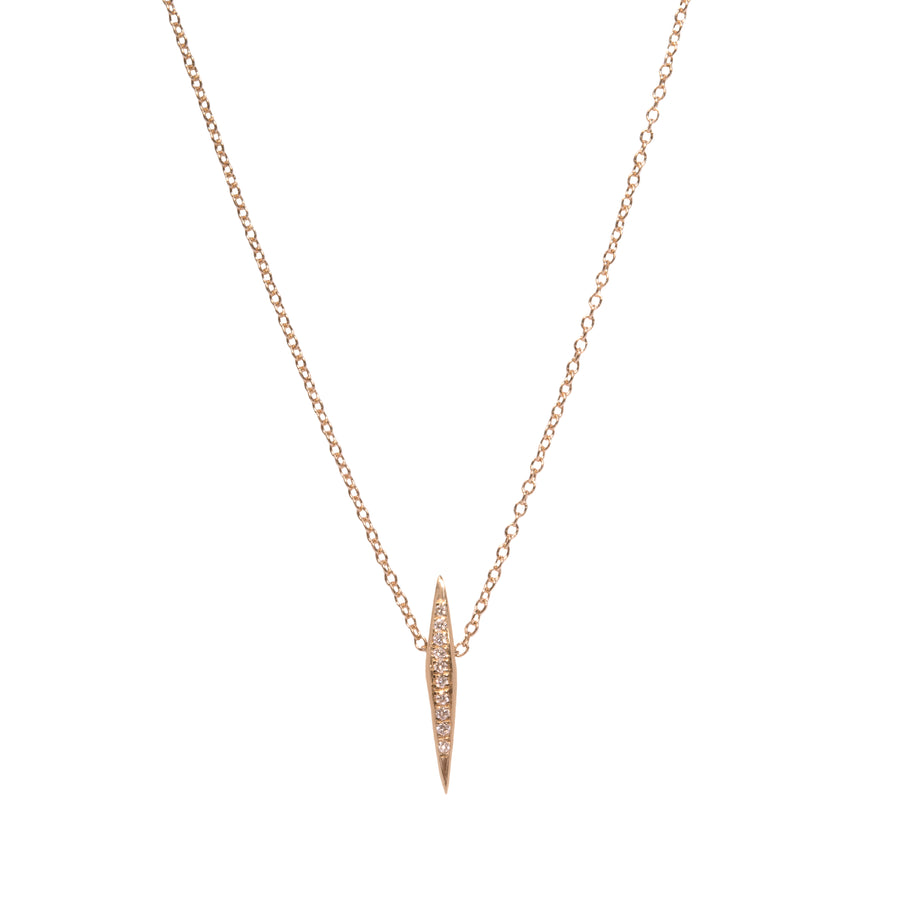 Micro Pave Diamond Thin DT Pyramid Spike Pendant Necklace