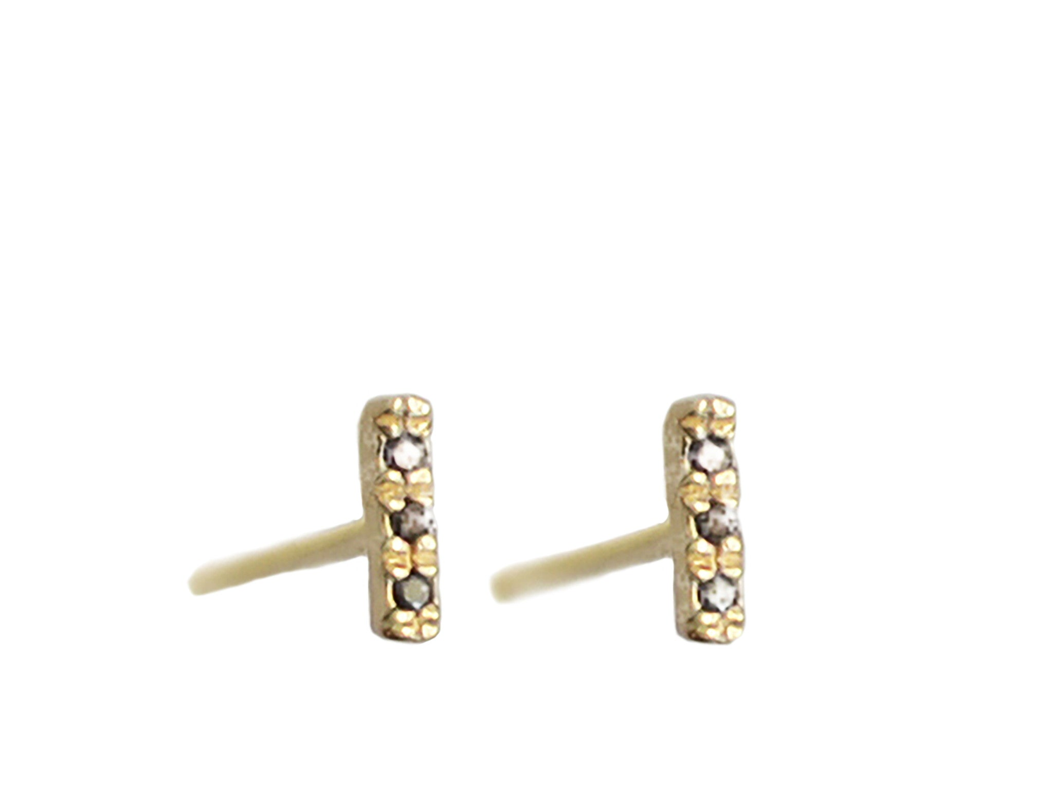Micro Pave 3 Three Diamonds Line Bar Stud Earring Wendy Nichol fine Jewelry Designer Simple delicate solid 14k Gold Yellow Rose White Sterling Silver Handmade in NYC New York City tiny delicate simple everyday diamond bar studs First Second Ear Piercing Snug Helix Cartilage diamond stud earring