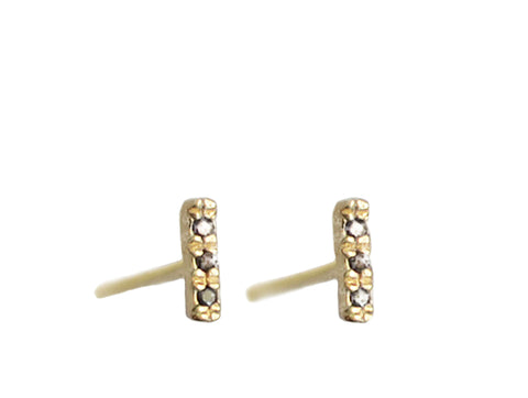 Micro Pave 3 Three Diamonds Line Bar Stud Earring Wendy Nichol fine Jewelry Designer Simple delicate 14k Gold Sterling Silver
