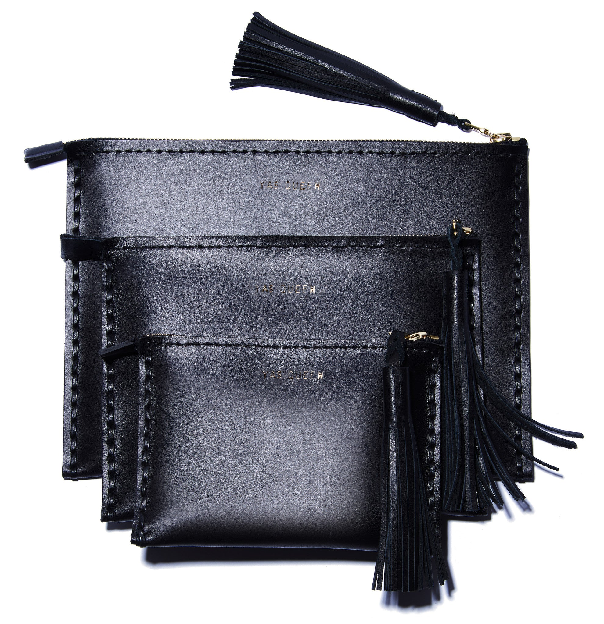 Embossed YAS QUEEN Laced Leather Clutch Pouch Wendy Nichol Luxury Handbags Bag Purse Designer Handmade in NYC New York City Zip Zipper Pouch Wallet Fringe Tassel Embossed Gold Silver Foil Small Medium Large Size Smooth High Quality Black Leather YAS QUEEN CLUTCH