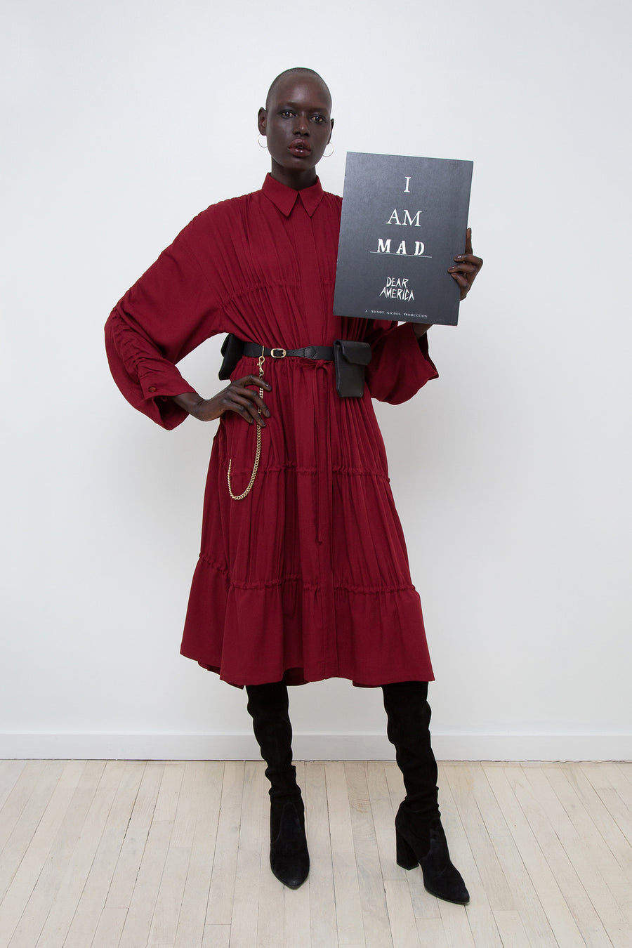 Ajak Deng IMG Model Wendy Nichol AW17 Clothing Fashion Anti Fascist Runway Show Dear America Handmade in NYC New York City Protest March I AM Drawstring Draw String Dress Coat Ruche Ruffle Collar Shirt Dress Red Long sleeves Blouse invisible buttons secret pockets Protest March