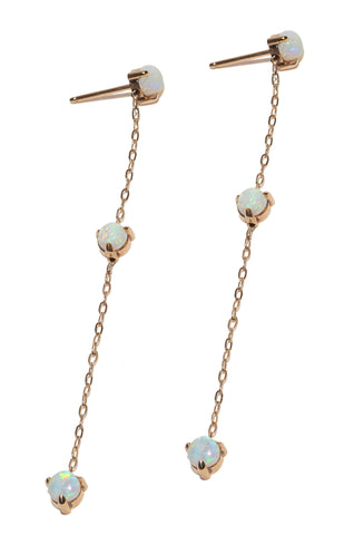 Triple Opal Dangle Stud Earrings Wendy Nichol Fine Jewelry Designer simple delicate chain cabochon opal Handmade in NYC solid 14k Gold