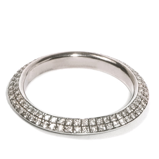 Micro Pave Knife Edge Single Precious Orbit Ring
