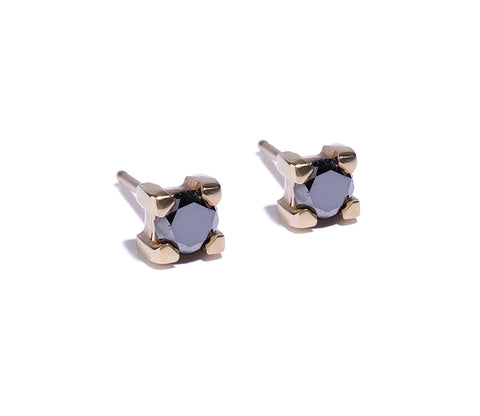 4mm Black Diamond Stud Wendy Nichol Fine Jewelry Designer solid 14k Gold simple delicate Black Diamond Earrings