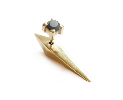 Wendy Nichol fine Jewelry Designer DT Pyramid Spike Earring Jacket Back  4mm Black Diamond Stud Front Spike Back solid 14k Gold Yellow Rose White Handmade in NYC New York City