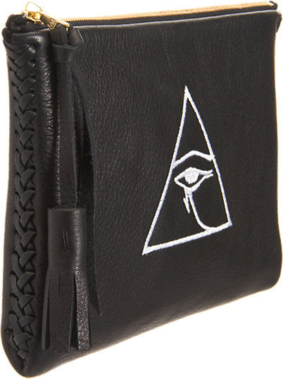 Embroidered Egyptian Eye of Horus Illuminate Braided Pouch Triangle Wendy Nichol Leather Handbag Purse Designer handmade in NYC New York City Desperately Seeking Susan Madonna High Quality Leather Zip Zipper Pouch Fringe Tassel Pull Evil Eye Clutch Wallet