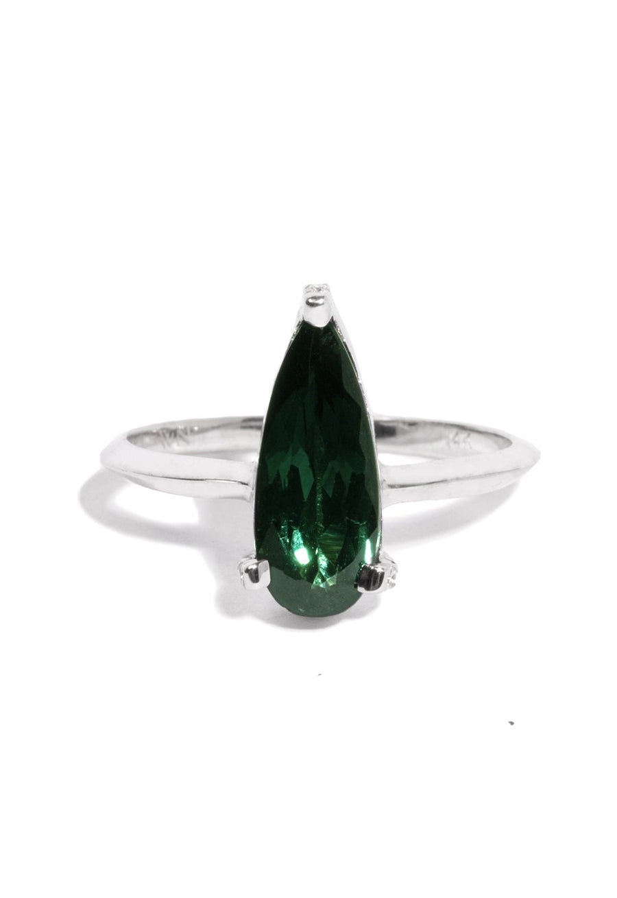 Teardrop Tourmaline Ring with White Diamond Pave Prongs