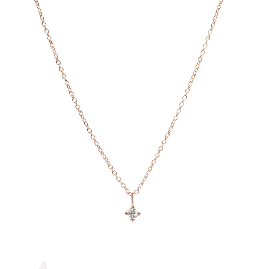 2mm Diamond Pendant Necklace