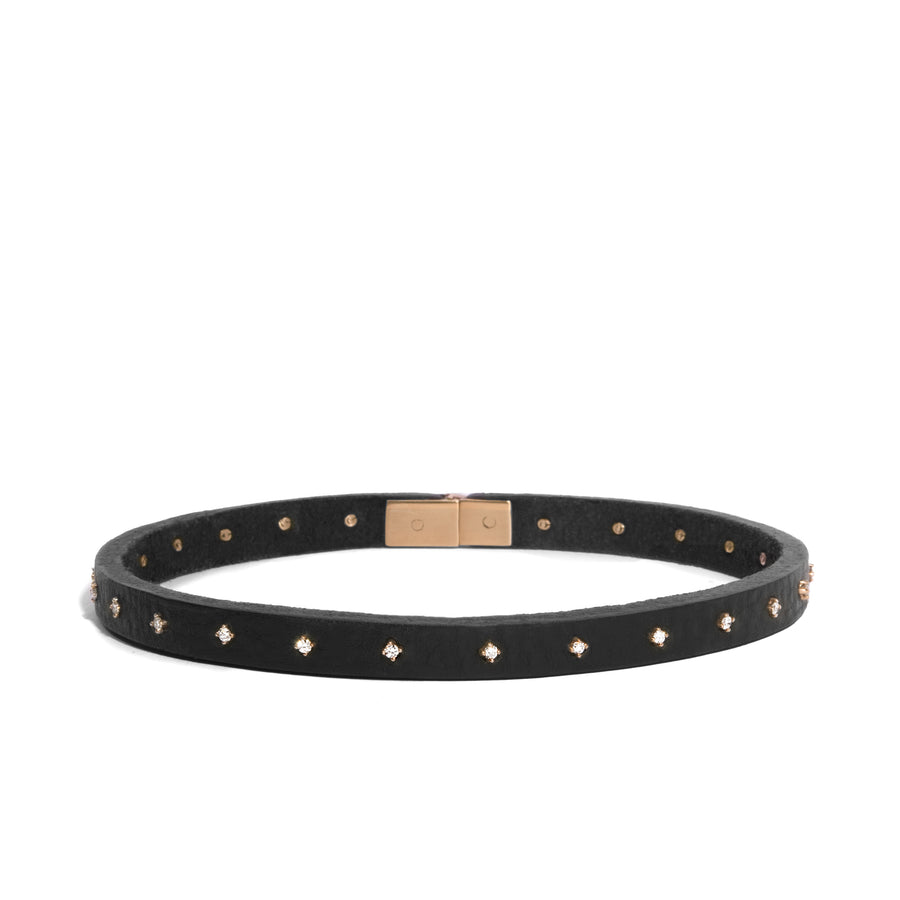 Triangle Leather Choker with 24 White Diamond Charms