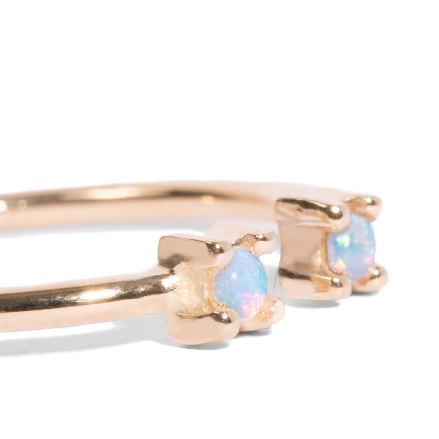 Double Opal 2mm Open Ring