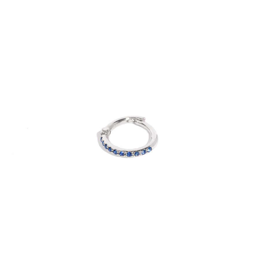 Micro Pave Colored Stone 10mm Hoop Earring