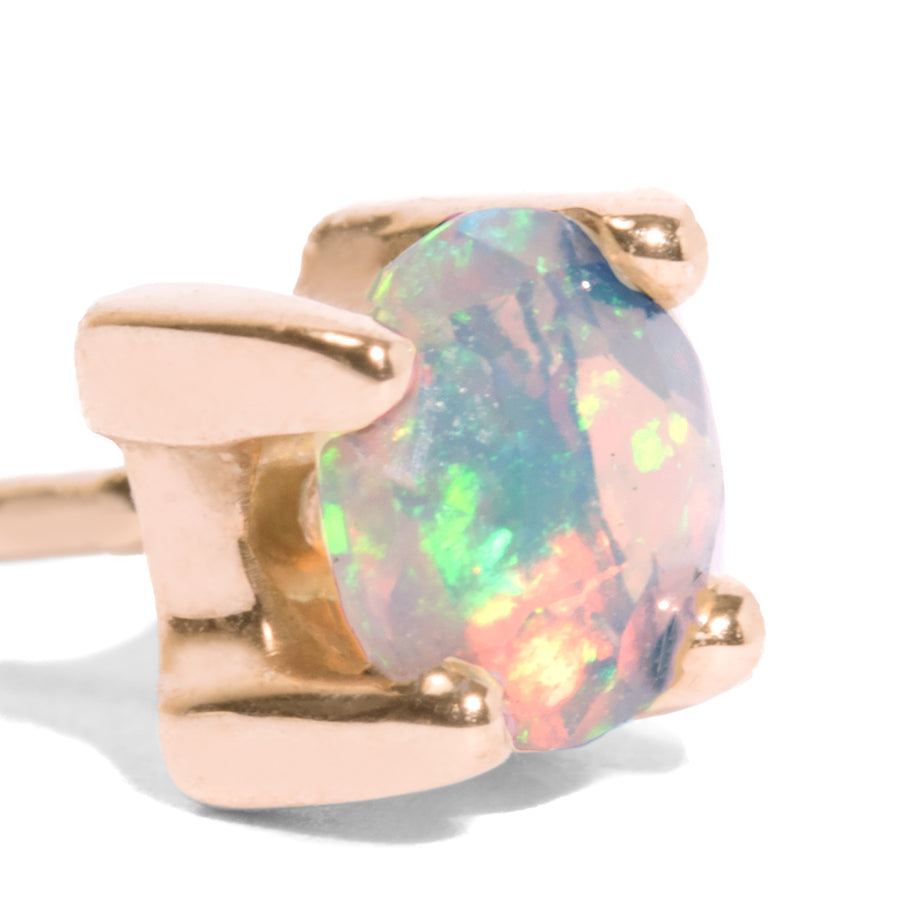 Single 4mm Opal Stud Earring