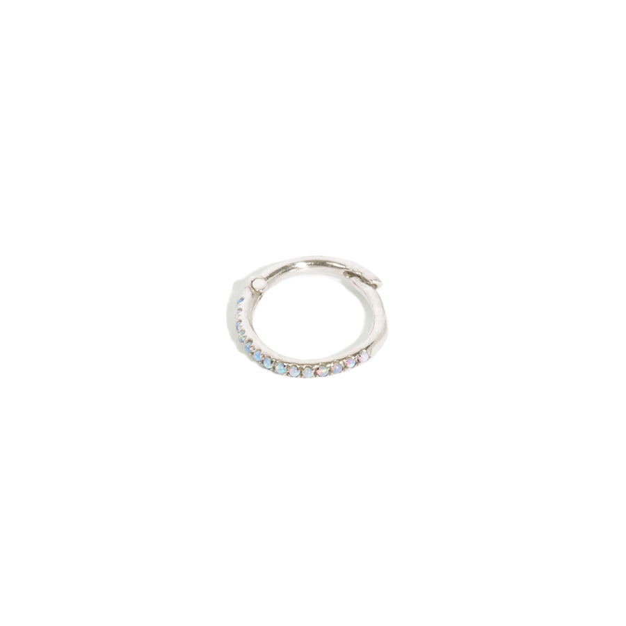 Micro Pave Opal 12mm Hoop Single Earring