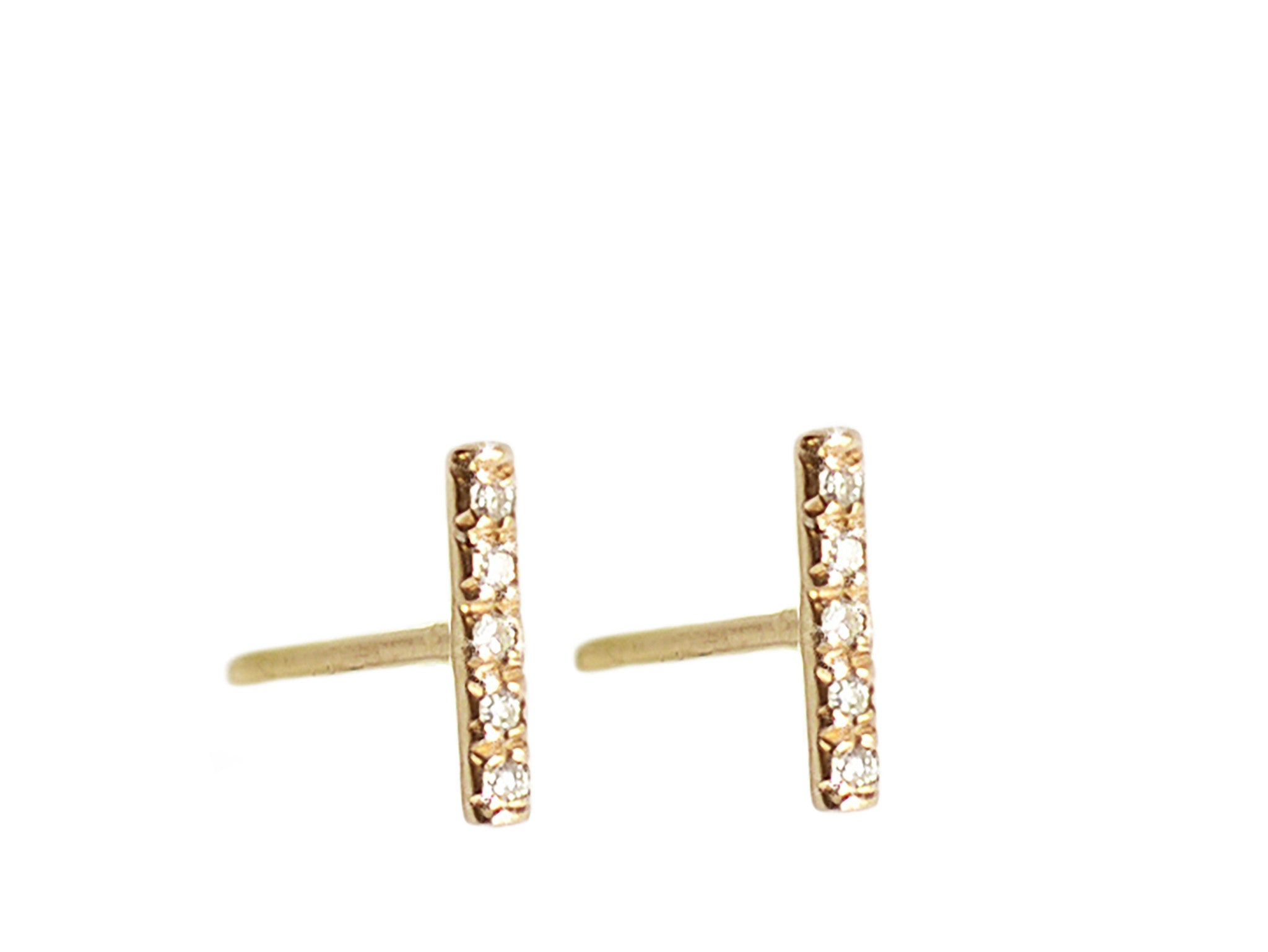 Micro Pave 5 Five Diamonds Line Bar Stud Earrings Wendy Nichol Fine Jewelry Designer Simple Delicate Studs solid 14k Gold Yellow Rose White Sterling Silver Black Diamonds White Diamonds Handmade in NYC New York City simple delicate diamonds diamond stud First Second Third Ear Piercing Snug Helix Cartilage Diamond staple stud earring
