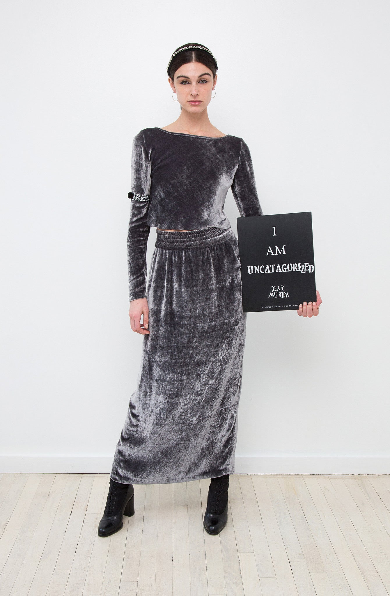 Mariah IMG Model Wendy Nichol AW17 Clothing Fashion Anti Fascist Runway Show Dear America Handmade in NYC Black Silk Velvet Stone Gray Skirt Long Sleeve Cropped Top Protest I AM