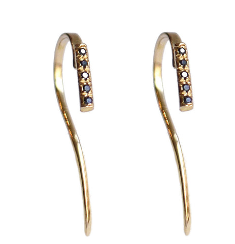 Micro Pave 5 Diamonds Bar Line Hook Dangle Earrings Wendy Nichol 14k Gold Sterling Silver Black Diamonds White Diamonds