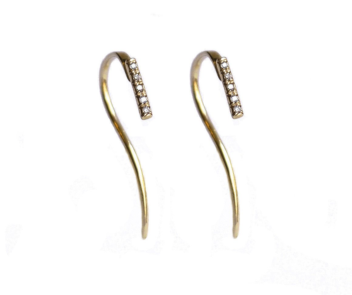 Micro Pave 5 Diamond Bar Line Hook Dangle Earrings Wendy Nichol solid 14k Gold Yellow Rose White Sterling Silver Black Diamonds White Diamonds Handmade in NYC New York City dangle Hook through thru First Second Ear Hole Piercing Lower Lobe Upper Lobe  Helix Cartilage