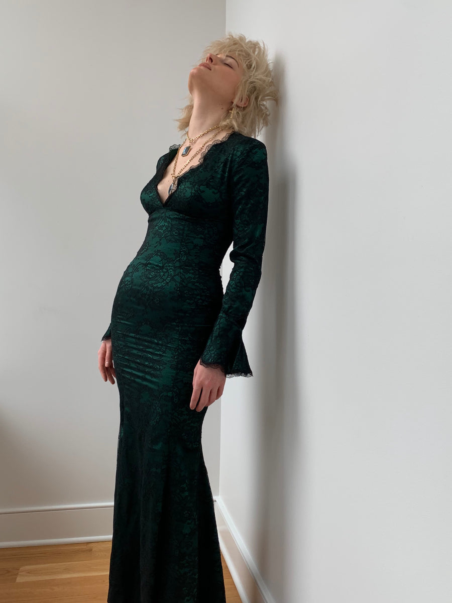 Vintage 1980's Thierry Mugler Forest Green Silk and Black Lace Gown