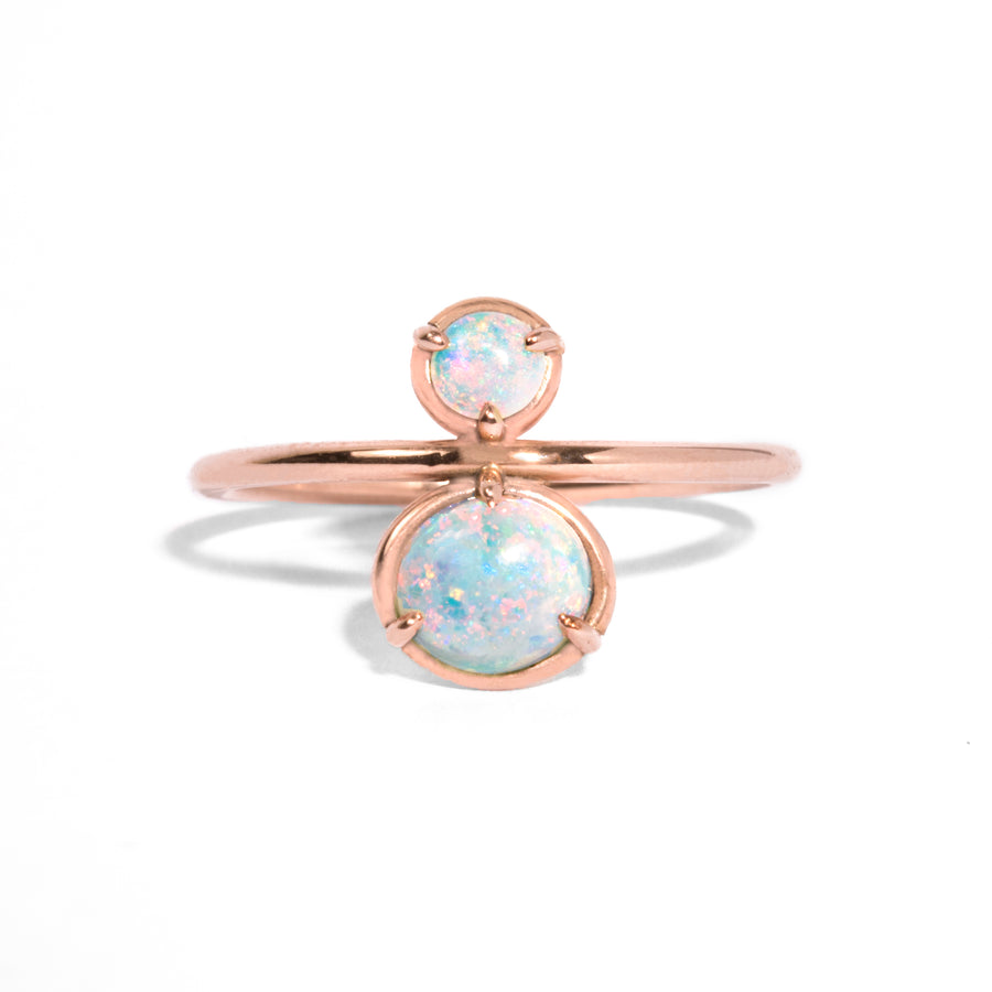 Double Opal Cabochon Ring