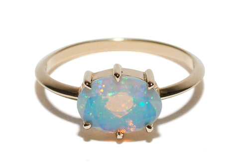 6 Prong Horizontal Oval Opal Ring