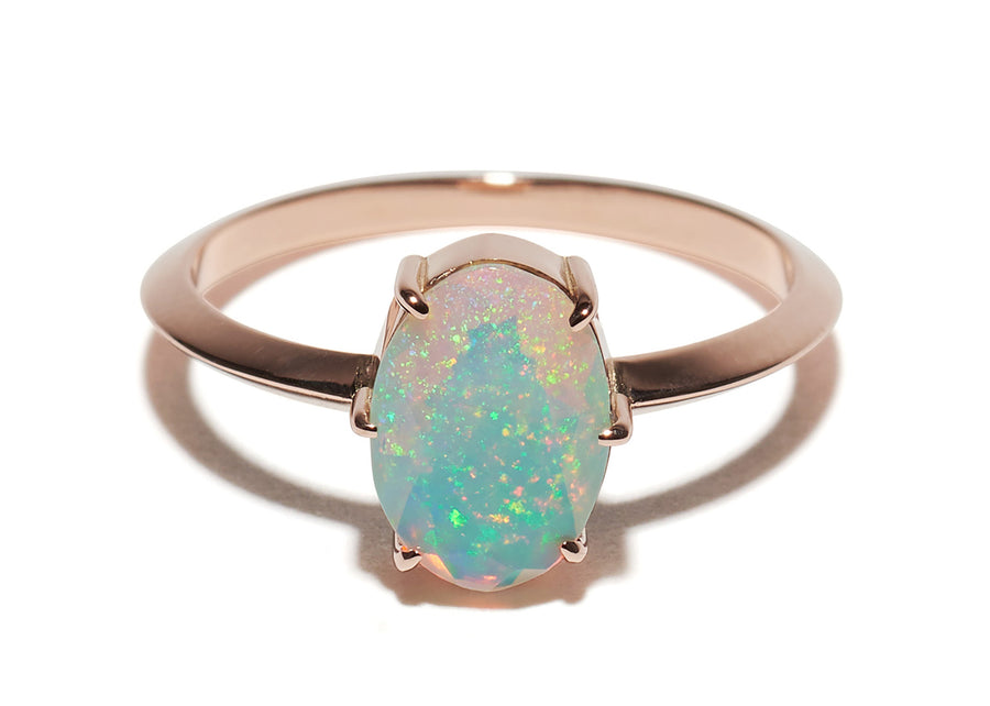 6 Six Prong Setting Vertical Oval Opal Ring Wendy Nichol Fine Jewelry Designer Handmade in NYC New York City solid 14k Gold Yellow Rose White Faceted Stone Opal Knife Edge Band Orbit Galaxy Cosmic Libra October Birthday Birthstone
