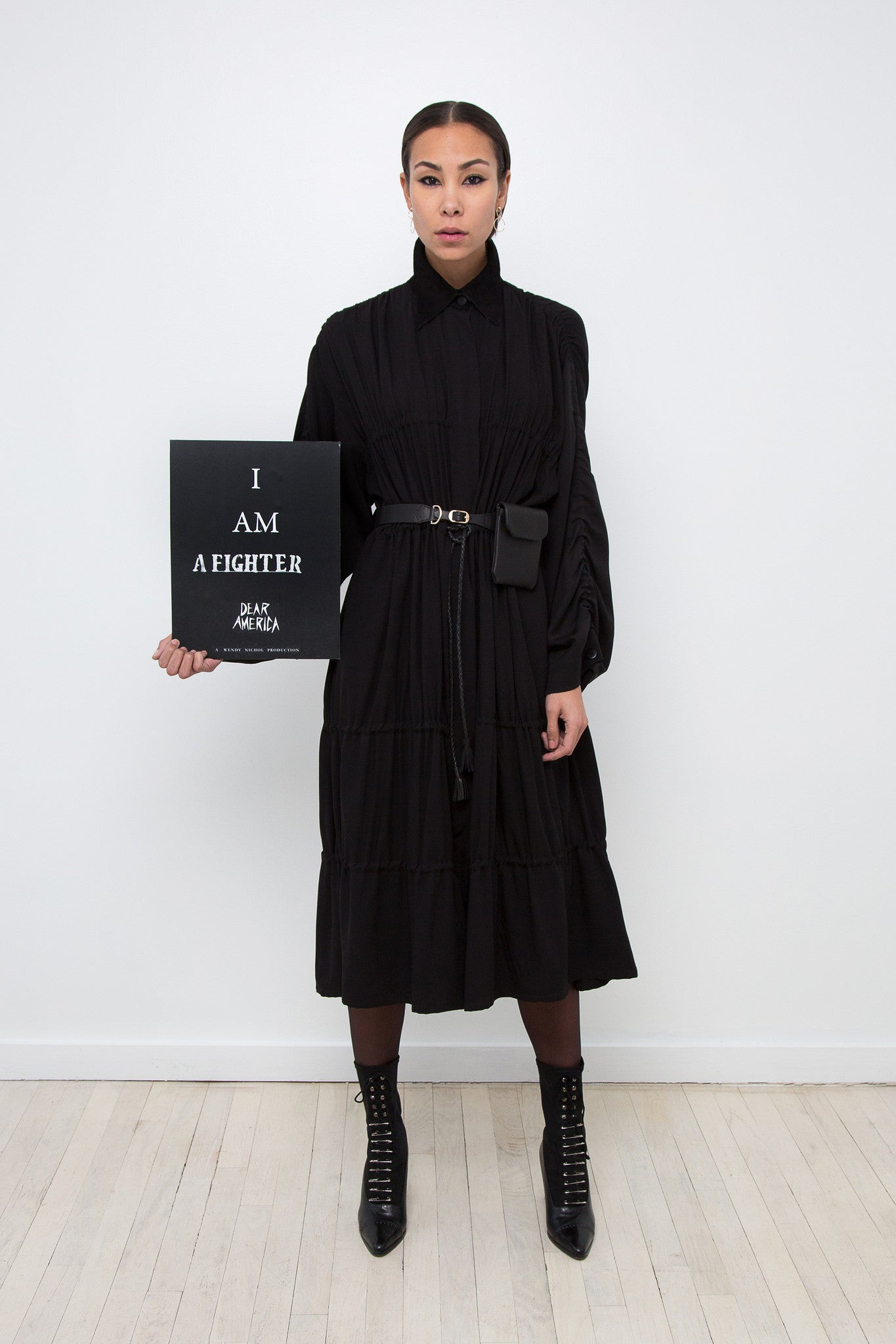 Sophie Model Wendy Nichol AW17 Clothing Fashion Anti Fascist Runway Show Dear America Handmade in NYC New York City Protest March I AM Drawstring Draw String Dress Coat Ruche Ruffle Collar Shirt Dress Red Long sleeves Blouse invisible buttons secret pockets Protest March