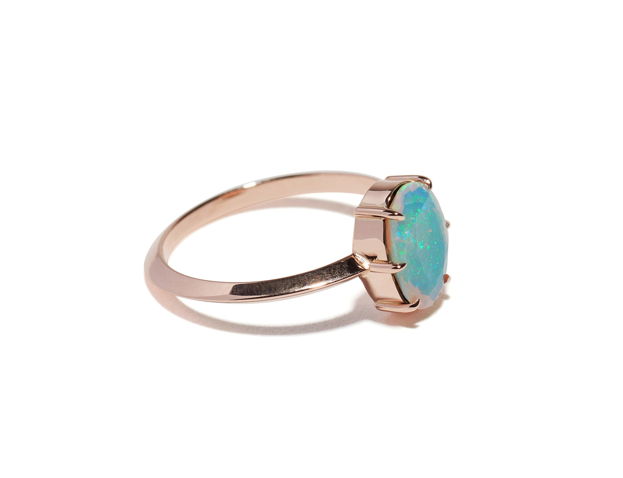 6 Prong Vertical Oval Opal Ring Wendy Nichol Fine Jewelry Designer Handmade in NYC solid 14k Gold