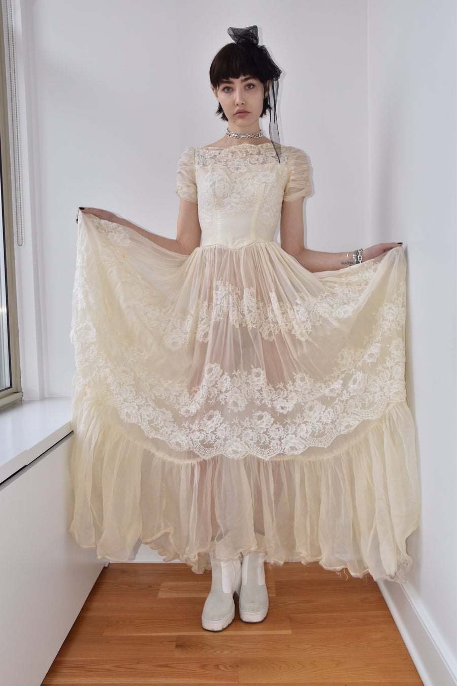 Vintage French Silk Lace Overlay Gown with Pearl Embroidery