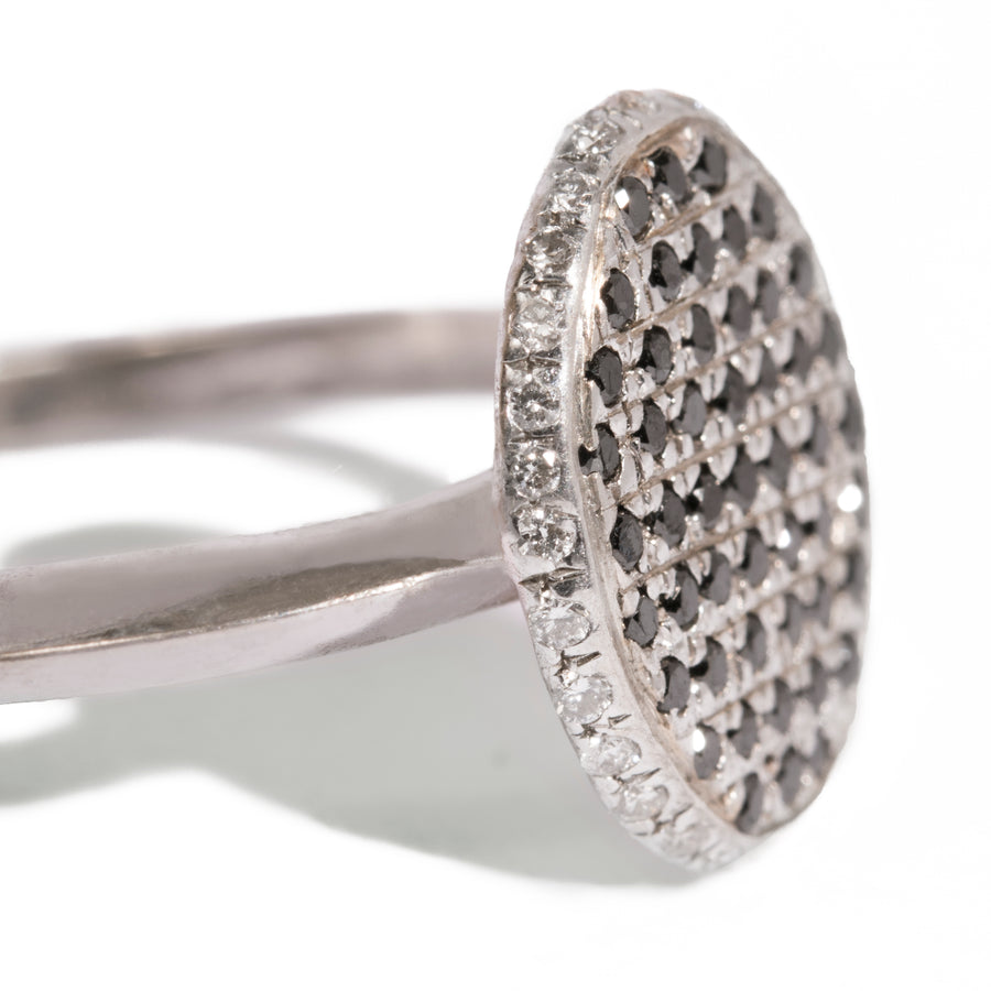 Micro Pave Face and Edge Oval Shape Ring