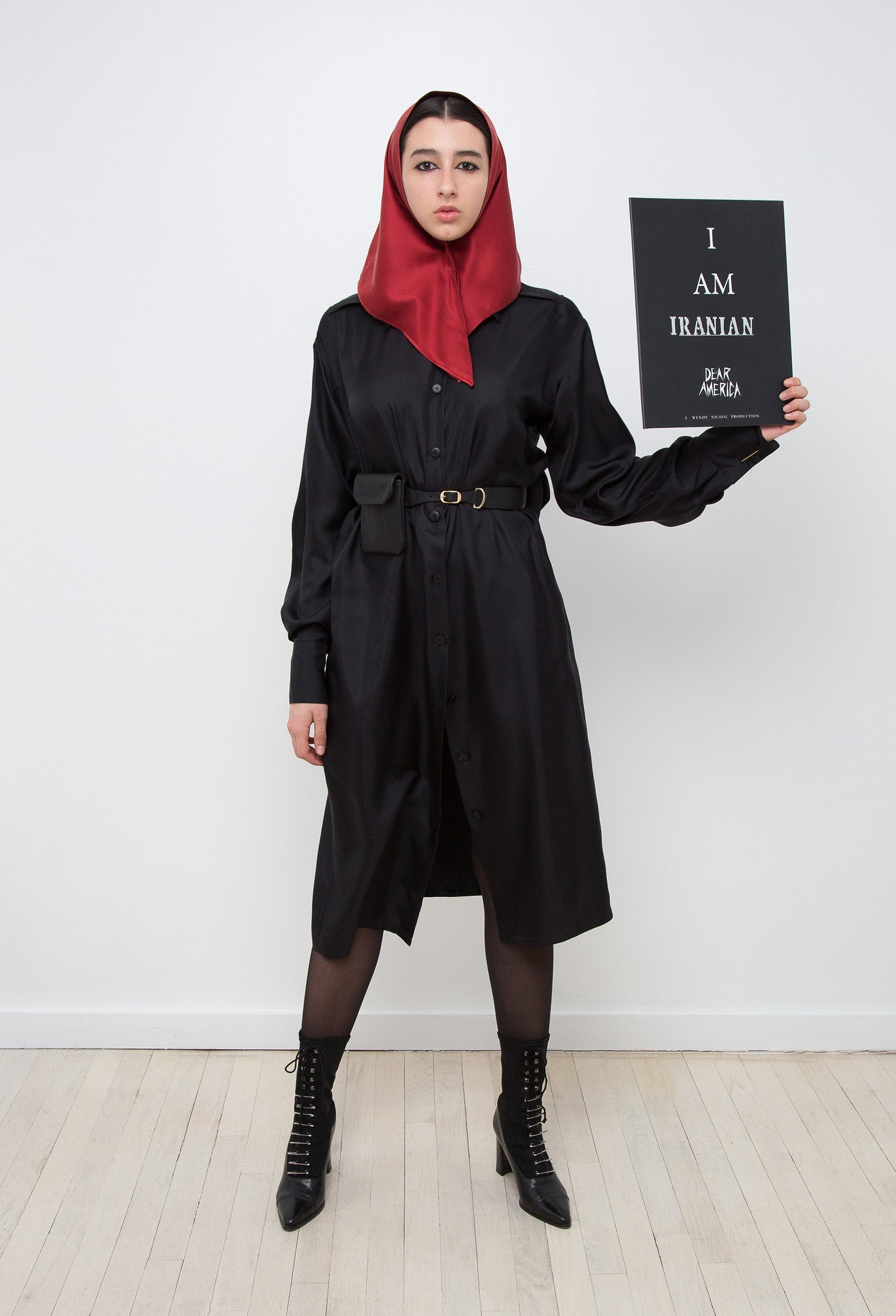 Sofia G. Model Wendy Nichol AW17 Clothing Fashion Anti Fascist Runway Show Dear America Handmade in NYC New York City Protest I AM Silk Shirt Dress Long Sleeve Blouse buttons Silk Head Scarf Chador Hijab