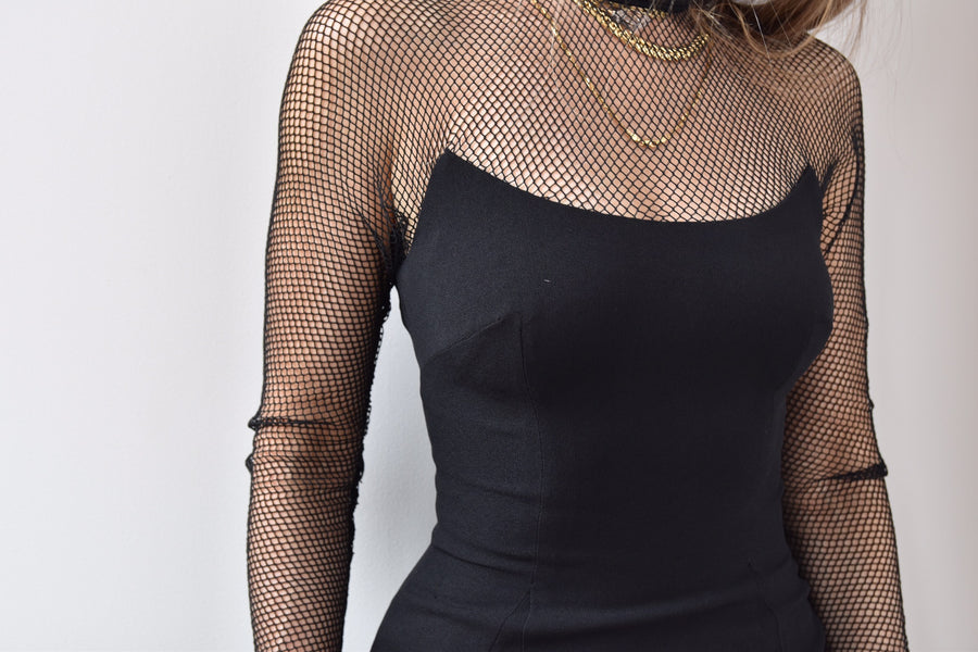 Vintage 1980's Mesh Little Black Dress