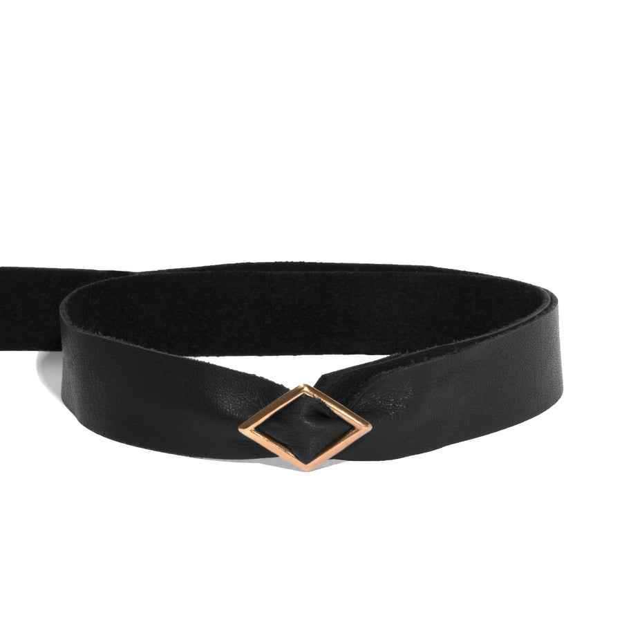Leather Tie Triangle Toggle Choker