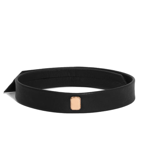 Leather Snap Choker with Micro Pave Edge Engraved Emerald Shape